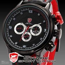 Men's 43mm Longfin Shark Date Day Quartz / Analog Red Black Leather Wrist Watch