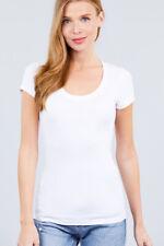 Women's Scoop Neck Short Sleeve Basic Cotton Blend T-Shirt Basic Tee Top T9663