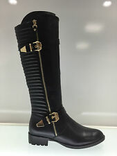 LADIES WOMENS KNEE HIGH BLACK LEATHER STYLE LOW HEEL BOOTS SHOES SIZE 3