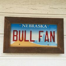 VINTAGE NEBRASKA LICENSE PLATE BULL FAN CHICAGO BULLS NBA WOOD FRAME VANITY GIFT