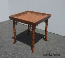 Vintage Chinese Chippendale Faux Bamboo End Table w Scalloped Edge Side Table