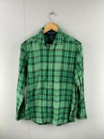 Nautica Mens Green Check Cotton Vintage Long Sleeve Button Up Shirt Size Small