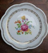 """Bavaria Schumann Germany Porcelain Floral Rose Pierced Plate Dish 10.62 """"Vintage"""