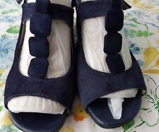 Clarks Sandals Wedge Suede Navy 6