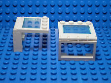 LEGOS - Set of 2 WHITE Vehicle Sunroof Trans-Light Blue Glass COMPLETE ASSEMBLY