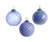 3 x Assorted Lilac Glass Antique Style Christmas Tree Baubles Hanging Decoration