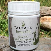 Talyala 1000mg Pure Emu Oil Capsules Arthritis & Muscle Pain (100 caps)