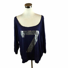 """CANDY RAIN """"7"""" Tee Shirt Oversized Off Shoulder Scoop Neck Blue 3/4 Sleeves L"""