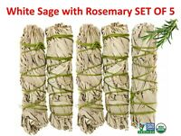 White Sage with Rosemary Smudge Stick SET OF 5 (House Cleansing)Made in USA