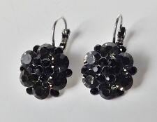 Blüten Ohrhänger Ohrringe Vintage Strass anthrazit grau schwarz antik silber