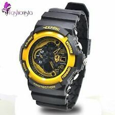 EXPONI Unisex Black Silicone Rubber Strap Sports Watch 3250 (Black/Yellow)