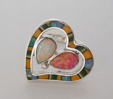 Stunning Fiery Pink White Opal Spiny Channel Inla Y Silver Heart Ring Size 6