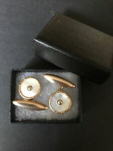 Antique Mother of pearl, gold plated cufflinks Chain Linked c1900- Boxed