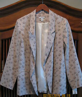 BAR III Sweet Hearts / Love Taupe/Beige/Red Lined Blazer Jacket Macy's L NWT