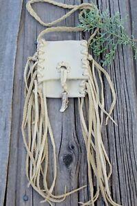 Leather medicine bag with fringe and antler tip , Necklace bag , Crystal bag