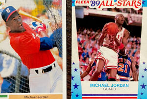 MICHAEL JORDAN 1989 Fleer Basketball All Star Sticker #3 AND Baseball Card NM
