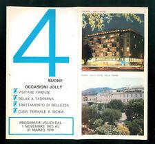 PIEGHEVOLE PUBBLICITARIO JOLLY HOTEL 1975 1976 FIRENZE TAORMINA ISCHIA TERME