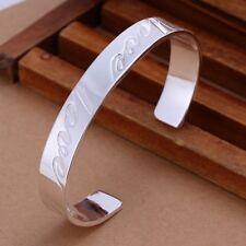 Fashion 925Sterling Solid Silver Men Jewelry LOVE Bangles Bracelet K014