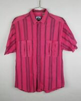 Santana Button Front Shirt Mens Size Large L Pink Short Sleeve Striped