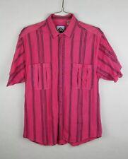 Santana Button Front Shirt Mens Size Large L Short Sleeve Striped Hot Pink