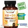 VITAMIN K2 (MK7) + VITAMIN D3 Supplement Non GMO & Gluten Free 60 Tablets