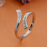 Hot Sale 925 Silver Plated Rings Finger Band Adjustable Ring Women's Jewelry