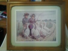 HOME INTERIOR PICTURE FARM  CHILDREN FEEDING THE GEESE