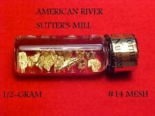 """(W-E) GOLD NUGGETS OUT OF THE AMERICAN RIVER  #14 MESH 1/2 GRAM """" GOT GOLD"""""""