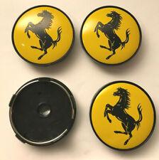 4 x Ferrari 60mm Wheel Centre Caps Yellow New Emblems Center Caps Base (Black)