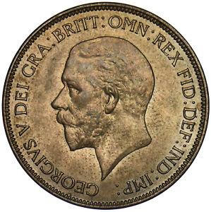 1935 PENNY - GEORGE V BRITISH BRONZE COIN - SUPERB