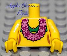 NEW Lego Female Minifig YELLOW TORSO Girl w/Pink Flower Lei Bikini Swim Suit Top