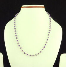 925 SOLID STERLING SILVER NECKLACE NATURAL FACETED AMETHYST GEMSTONE 7 GM 3.5 MM