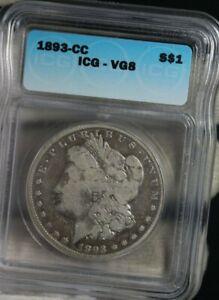 1893-CC Morgan Dollar S $1 Silver Coin ICG Carson City VGS
