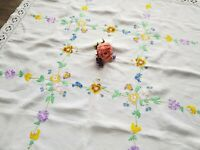 PRETTY Vintage Hand Embroidered Tablecloth with Violet Flowers