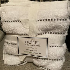 Hotel Collection Set Of 4 Washcloths 100% Cotton Brand New