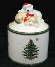 Spode - Puppy Pattern/Christmas Tree CANDY/COOKIE Jar - S3324-A17
