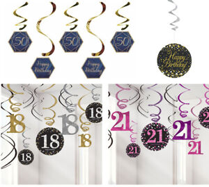 7 Types of Birthday Hanging Swirls Ceiling Decorations String Foil Party
