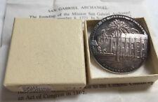 California Mission San Gabriel Arcangel Medal Silver Beautiful Toning Ser. #744