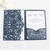 50/100PCS Tri fold Hollow Laser Cut Pocket Wedding Invite Invitation Card Cover