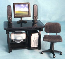 Dolls House Computer Room With Computer Desk & Chair 1:12 12th Scale DF997
