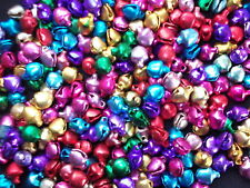 100 x  Mini Jingle Bells Multi coloured 6mm x 8mm