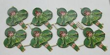 Vintage/Antique Girl Leprechaun Victorian St Patrick's Diecut  Scrap 8pcs