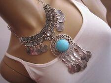 Damen Collier Hals Kette Modekette kurz Silber Türkis Orient Hippie Statement M8