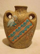 Southwestern USA Ceramic Hand Painted Vase Leather,Feather & Beads Earth Tones