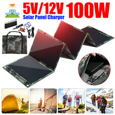 100W 5/12V Foldable Portable Solar Panel Battery Charger Camping Hiking Dual !
