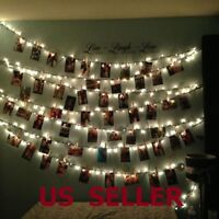 10/20 LED Card Photo Clip String Fairy Lights Battery Christmas Party Wedding