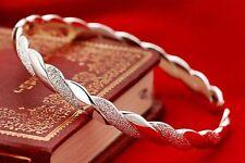 Delicate  925sterling solid Silver Twist Net Cuff Bangle Bracelet for Women