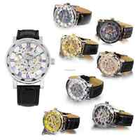 Men's Skeleton Mechanical Wrist Watch Steampunk Luxury Leather Stainless Brand