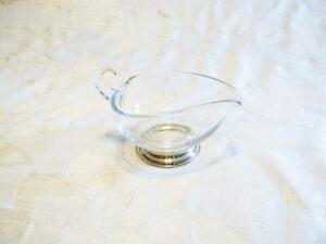 Sterling Silver Base Clear Glass Heart Gravy Bowl Creamer Dish