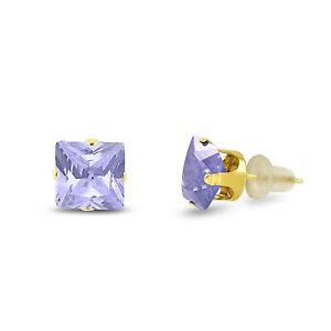 10k Yellow Gold Square Stud Earrings -Lavender CZ~June Birthstone